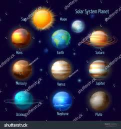 solar system colors solar system 8 planets pluto sun stock vector 304425323