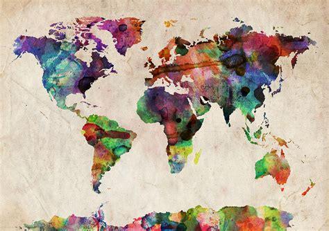 world map watercolor digital art  michael tompsett