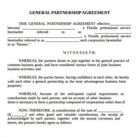 basic partnership agreement template printable sle partnership agreement sle form real