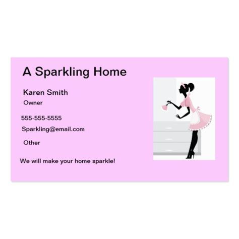 house cleaning business cards house cleaning business card pink maid lady zazzle
