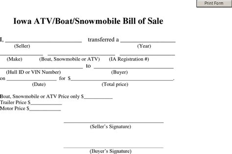 snowmobile bill of sale bill of sale template free template customize