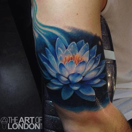 blue lotus flower tattoo by london reese tattoonow