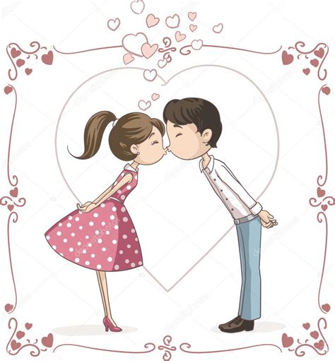 imagenes de amor besandose animadas pareja bes 225 ndose vector cartoon vector de stock