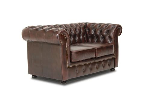 brun 2 pers sofa i lderlook chesterfield design