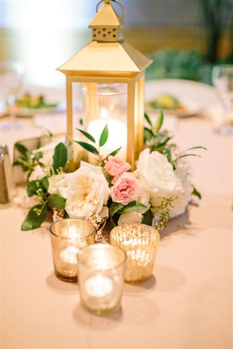 Flower Ideas Gold Wedding by Gold Lantern Centerpiece Blush Ivory Gold Centerpiece