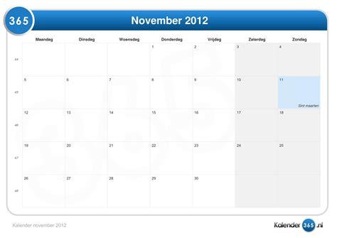 Calendar November 2012 Kalender November 2012