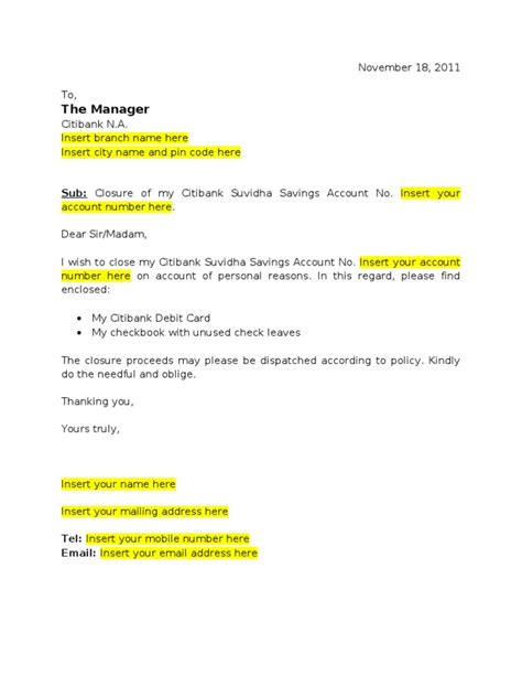 account closing letter for citibank citibank suvidha account closure letter