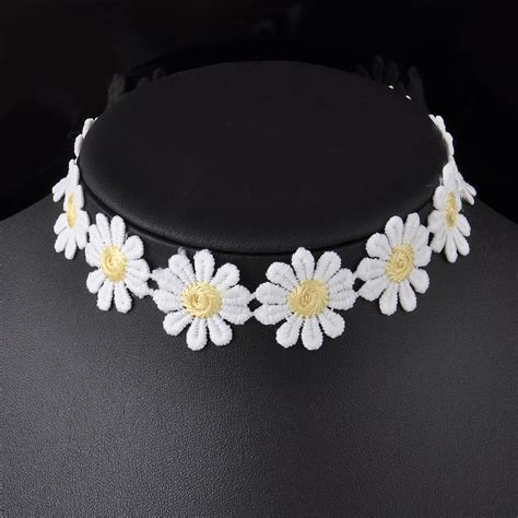 Floral Lace Necklace P 175 lace white sweet choker flower yellow collar necklace jewelry ebay
