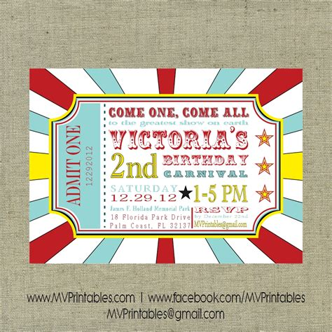 Carnival Themed Invitations Templates by Carnival Themed Custom Digital Printable Invitation On