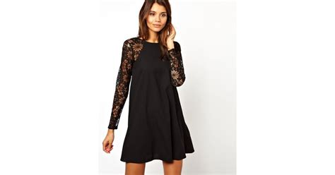 swing dress with lace sleeves asos swing dress with lace sleeves in black lyst