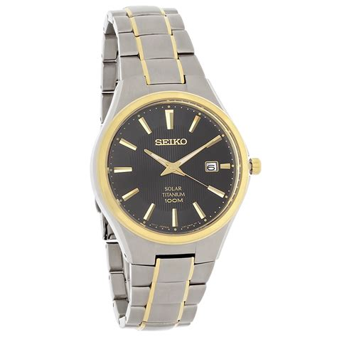 Eiko Chronograph Sks525p1 Black Two Tone Gold seiko solar mens classic black two tone titanium