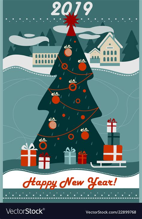 merry christmas   year  greeting card vector image