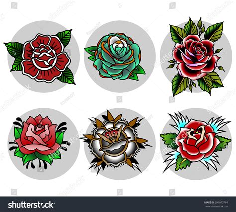 fiori traditional traditional flowers set stock vector 397073764