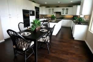 exceptional White Kitchen Cabinets Tile Floor #4: 5-white-kitchen-dark-wood-floor.jpg