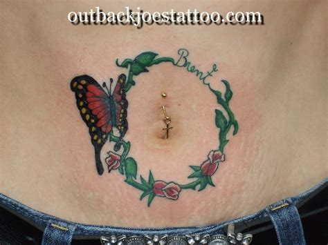 rose tattoo around belly button butterfly tattoos and designs page 73