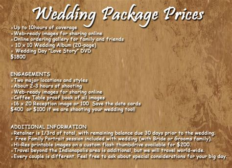 Wedding Photo Prices by Current Wedding Prices Davis Creative Photography