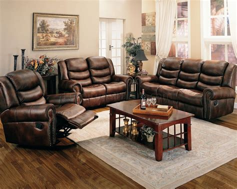 living room with brown leather sofa brown leather like fabric reclining living room sofa w options