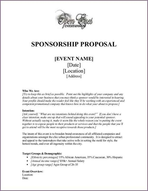 Writing A Sponsorship Letter For An Event Event Letter Sle Proposalsleletter