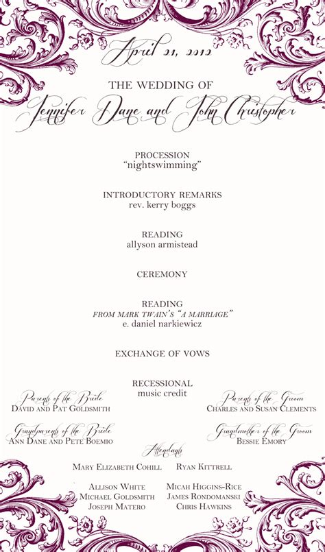 One Page Wedding Program Wording Myideasbedroom Com One Page Wedding Program Template 2