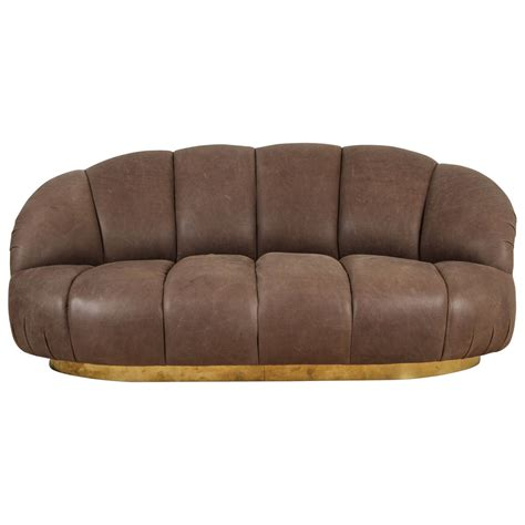 italian leather loveseat italian leather and brass loveseat at 1stdibs