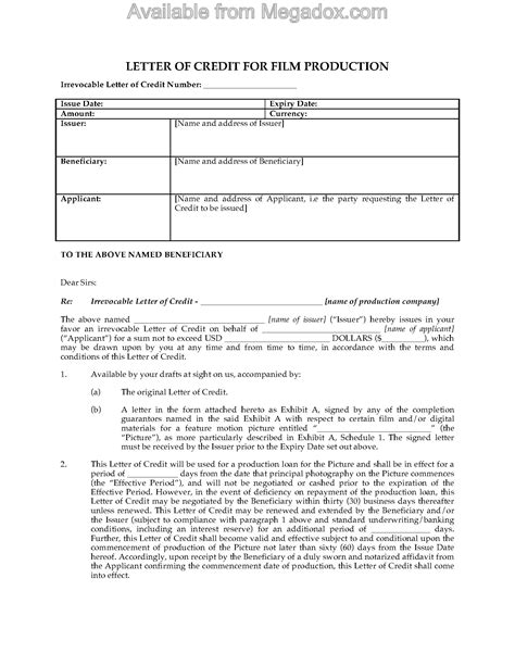 Forward Contract Letter Of Credit Production Letter Of Credit Forms And Business Templates Megadox