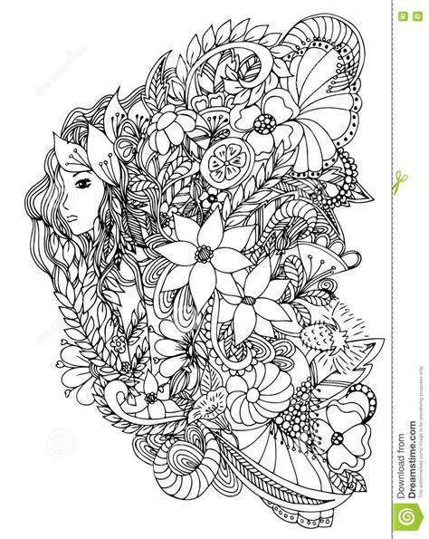 1539838811 livre de coloriage adulte avec belle femme avec l escargot conception pour des adultes de