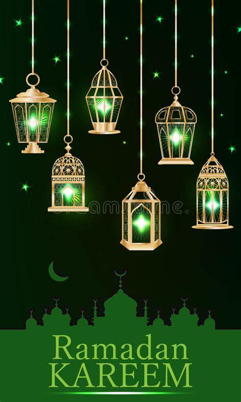 ramadan lantern green light vertical stock vector