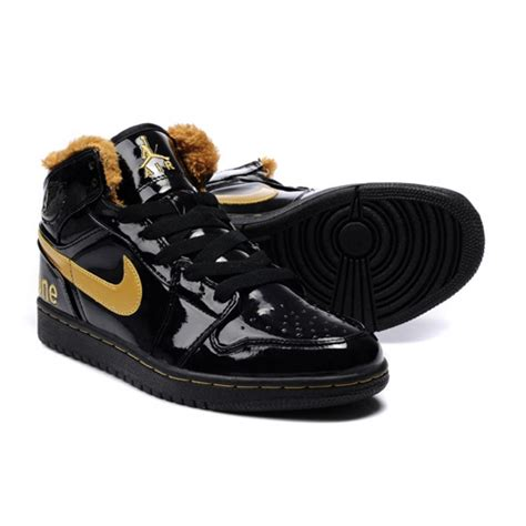 jordans shoes for air 1 leather wool mid black yellow shoes