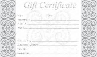 Gift Certificate Printable Template Free by Editable And Printable Silver Swirls Gift Certificate Template
