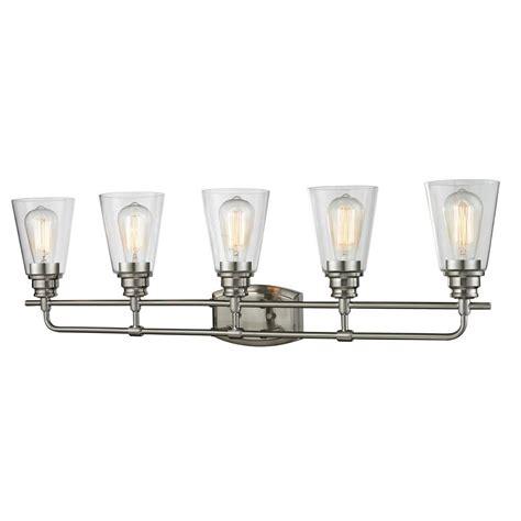 5 light vanity light brushed nickel filament design nina 5 light brushed nickel bath vanity