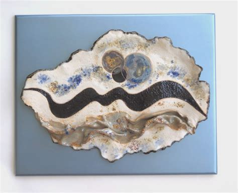 pottery wall decor abstract ceramic wall sculpture blue white contemporary