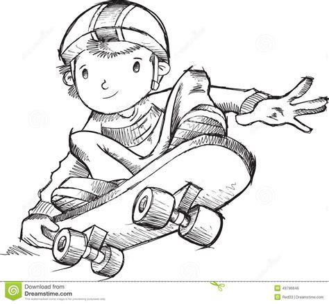 doodle sketch vectors free skateboarder doodle vector stock vector image of children