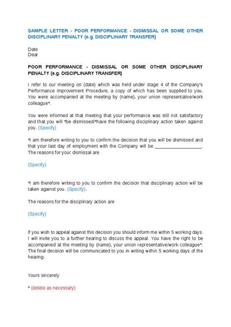 Letter Of Agreement For Performers Sle Termination Letter For Poor Performance Best Letter Sle