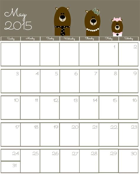 2015 May Calendar Printable Free 2015 Printable Calendar The Bearfoot Baker