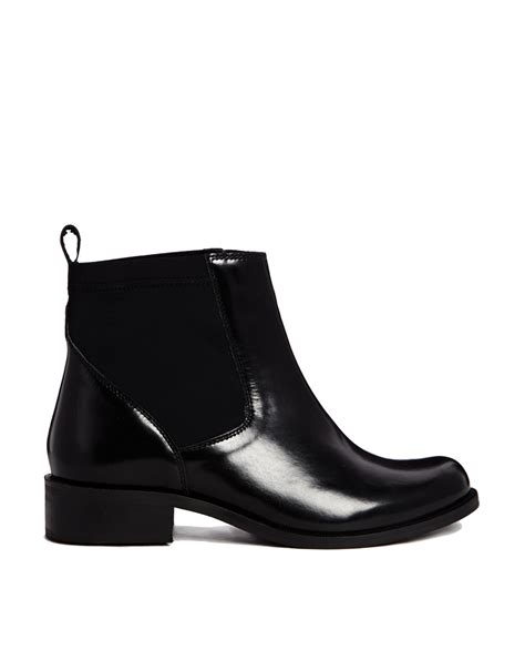 asos plan wide fit leather chelsea ankle boots in