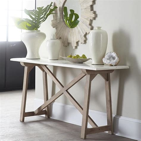 marble top console table  white  natural