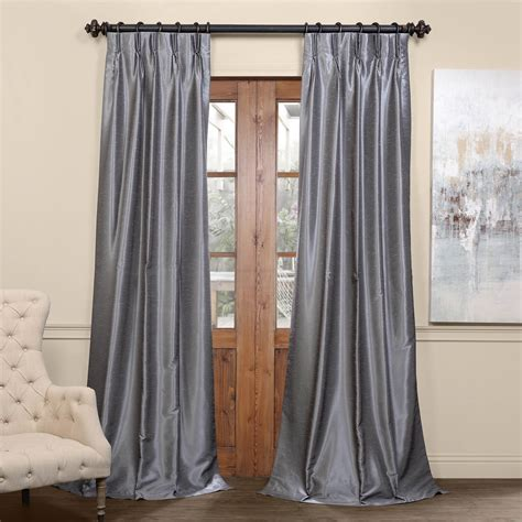 dupioni drapes storm grey blackout textured dupioni pleated curtain