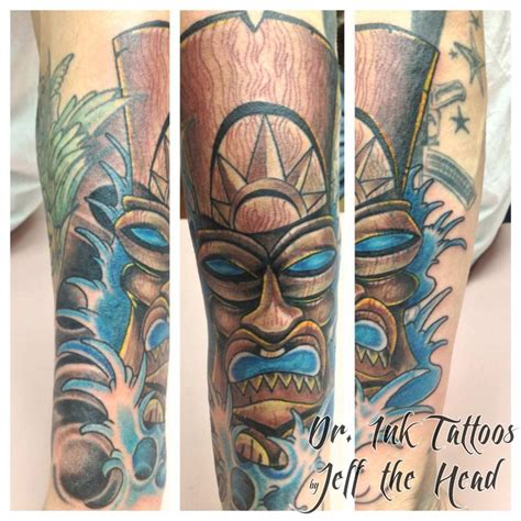 tribal tiki tattoo tiki mask cover up by jeff the dr ink