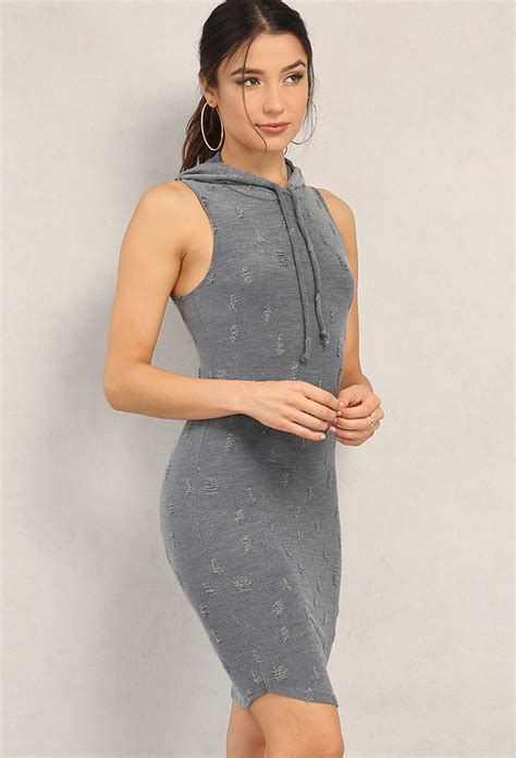 Id 3678 Hoody Dress distressed sleeveless hoodie dress shop dresses at