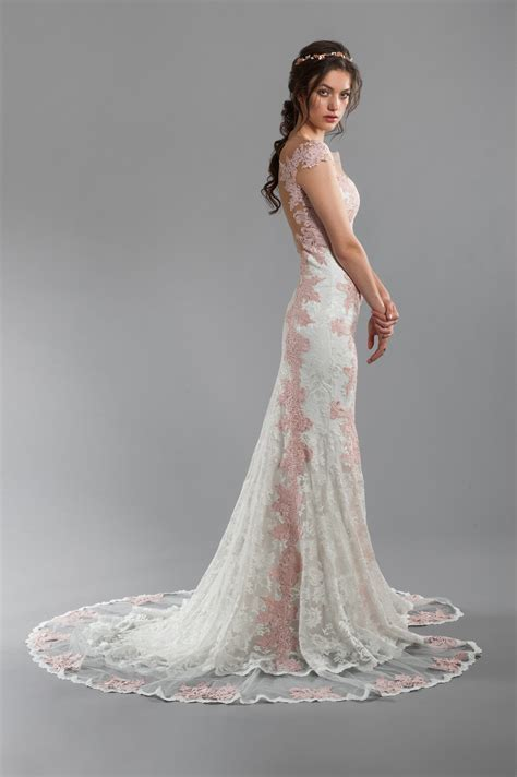 Rose And Ivory Lace Sheath Wedding Dress With Illusion