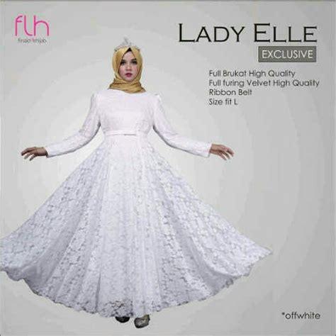 Gamis Warna Putih model gamis terbaru warna putih bahan brukat cantik modern