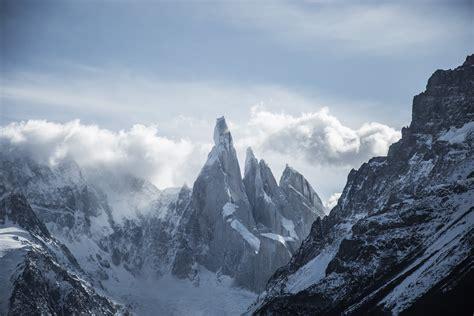 snow mountains  white  blue cloudy sky  image