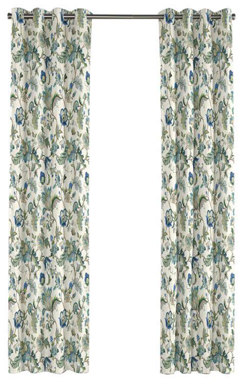 jacobean floral curtains jacobean blue floral grommet curtain traditional