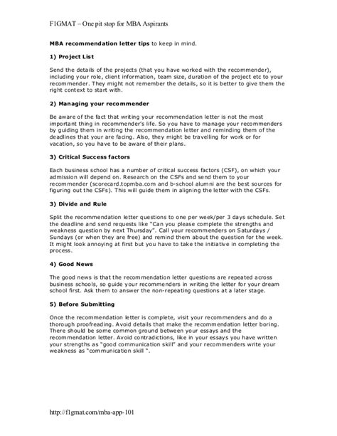 College Letter Of Recommendation Tips Mba Recommendation Letter Tips