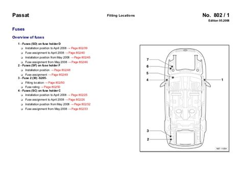 car engine manuals 2005 volkswagen passat security system vw passat b6 3c 2005 fuses overview