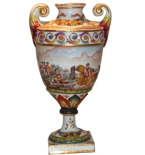 Capodimonte Vases Antique by Antique Capodimonte Doccia Porcelain Scenic Vase W