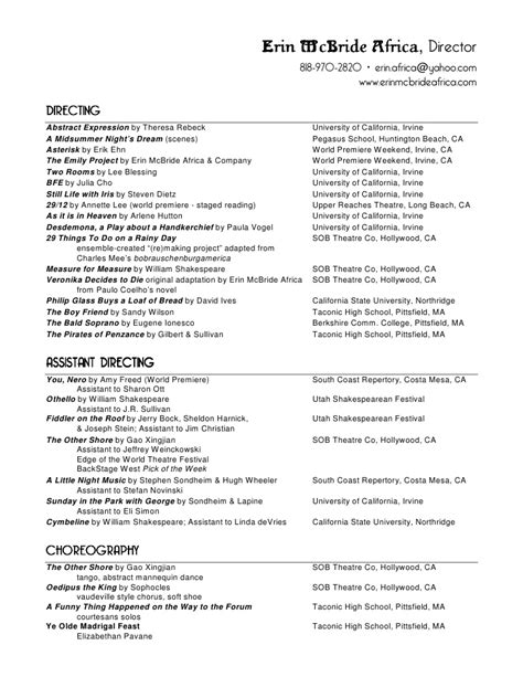 Erin Mc Bride Africa Theatre Resume High School Theatre Resume Template
