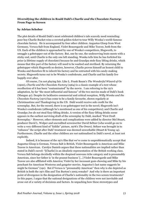 (PDF) Diversifying the Children in Roald Dahl's Charlie