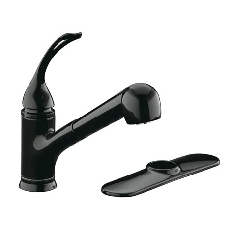 black faucet kitchen shop kohler coralais black black 1 handle pull out kitchen faucet at lowes