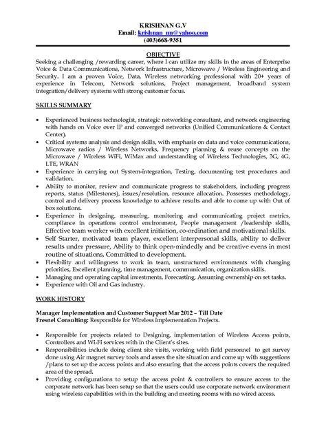 canadian resume sle cover letter for infrastructure project manager
